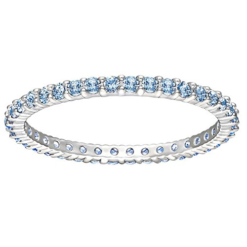 Cristalli Swarovski Anello da donna, rodiato vetro blu-51_, base metal, 58 (18.5), colore: Argento/blu, cod. 5184261