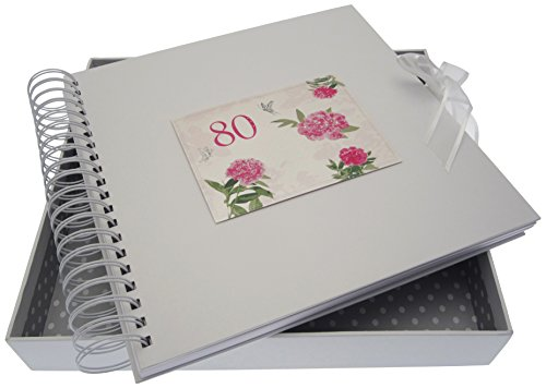 WHITE COTTON CARDS Karten- und Erinnerungsbuch zum 80. Geburtstag, Englische-Rosen-Motiv