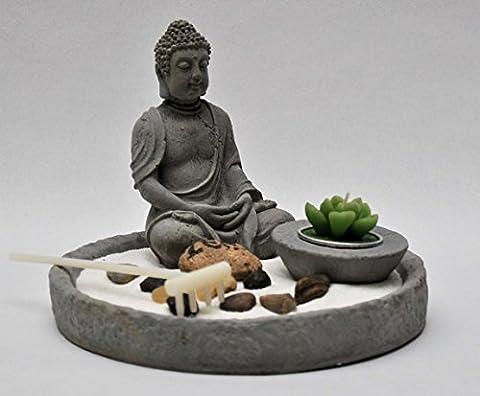6-tlg. Zen Garten, Feng Shui, Beton grau, Ø 19 cm