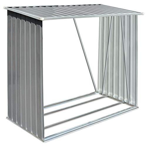 yorten cobertizo de almacenamiento de troncos casetilla para leña acero galvanizado gris 163x83x154 cm