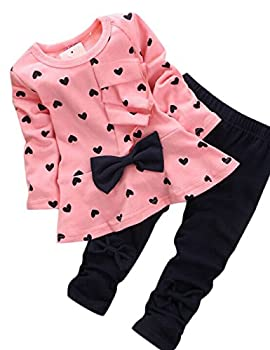 Weant Christmas Costume Baby Grils Clothes Newborn Infant 2pcs Heart-shaped Print Bow Cute Kids Set T Shirt + Pants Outfits Set (0-3 Months, Pink) 0