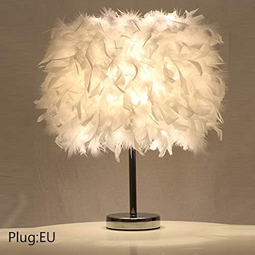 Lámpara de mesa de plumas