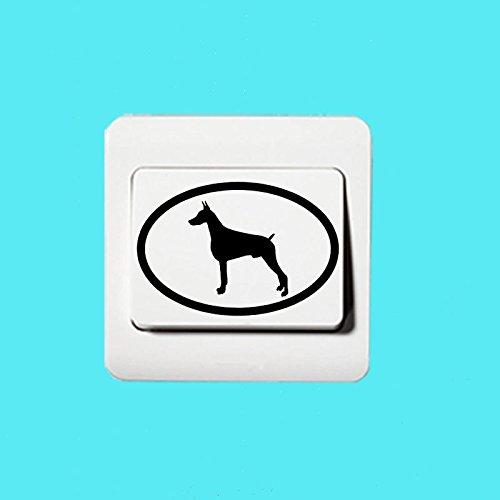 Preisvergleich Produktbild Dobermann Hund Oval Schalter Aufkleber Vinyl Dekoration Tapetensticker2SS 0718