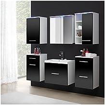 Ensemble meuble salle de bain blanc laque - Meuble de salle de bain amazon ...