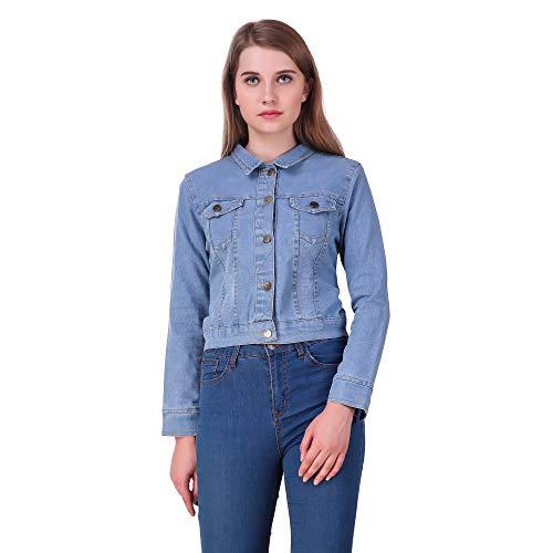 Clo Clu Women's Denim Jacket (CC545, Light Blue, Medium)