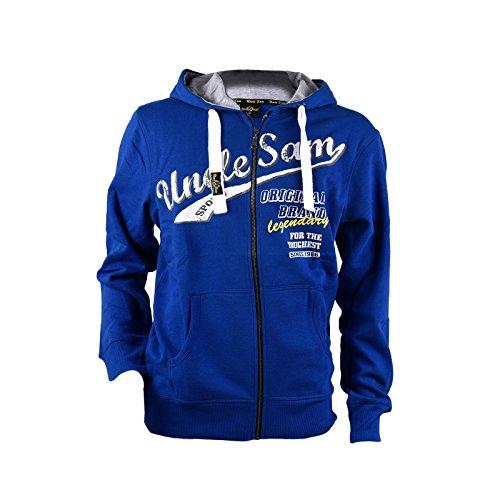 UNCLE SAM | Herren Sweatjacket | Hoody Jacke mit Kangerooh-Tasche | SAM! (M, Blau)