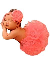 BabyMoon Baby Girl's Tutu Skirt with Headband Net Clothing Photography Props - (Set Of 2) (2Pcs BB Peach Tutu Skirt n Headband, Peach, 1-3 Years)