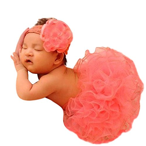 Babymoon ( SET OF 2 ) Big Baby (1-3 years) Peach Tutu Skirt With Headband Net Clothing / Photography Props Best Baby shower Gift