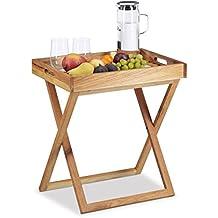 Relaxdays pieghevole per servire tablet, vassoio in legno di noce, piccolo tavolino pieghevole, tablet, AxLxP: App. 54x 52x 36cm