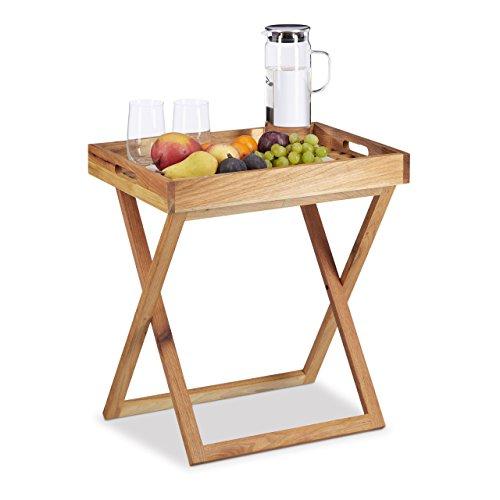 Relaxdays Tabletttisch klappbar, Serviertisch Walnuss-Holz, Klapptisch klein, Serviertablett, HxBxT: ca. 54 x 52 x 36 cm (Mit Ständer Klapptische)
