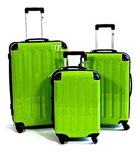 3 teiliges oder Einzeln M L XL Polycarbonat / ABS Trolley Koffer Bordcase Set Hartschale Reisekoffer Kofferset 4 Rollen (3er Set, Grün)