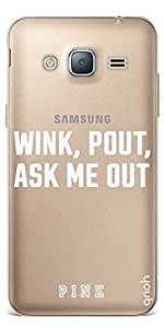 Qrioh Printed Designer Back Case Cover for Samsung J3 2016 - Wink, Pout, Ask Me Out White