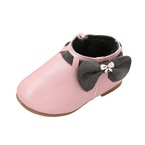 Kobay-baby Mädchen Schuhe Kleinkind Mode Bowknot Sneaker Plüsch Stiefel Reißverschluss Freizeitschuhe