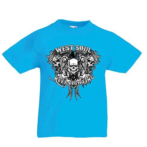 lepni.me Kinder Jungen/Mädchen T-Shirt Westseele kämpft weiter, Skull-Grafik (9-11 Years Hellblau (2019 Halloween Time Adventure)