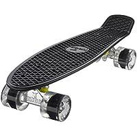 Ridge Skateboard 55 cm Mini Cruiser Retro Stil In M Rollen Komplett U Fertig Montiert, Unisex, Negro (Noir/Transparent)