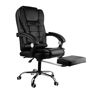 b rostuhl drehstuhl leder massage stuhl spiel entspannenden stuhl mit fu st tze schwarz amazon. Black Bedroom Furniture Sets. Home Design Ideas