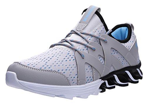 JOOMRA Herren Günstige Bequeme Lauf-Schuhe Freizeit Mode Sneaker Barfußähnliches Laufgefüh Turnschuh für unwegsames Gelände und Workout Männer Blau Grau Weiß 39 EU (Angebote)
