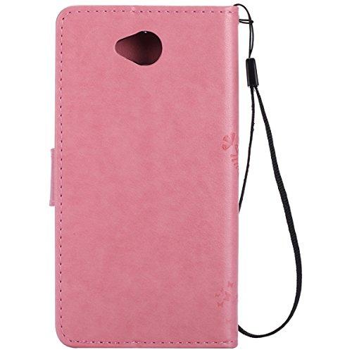 Custodia Microsoft Lumia 650 ISAKEN Cover Nokia N650 con Strap, Elegante borsa Farfalla Design in Pelle Sintetica Ecopelle PU Case Cover Protettiva Flip Portafoglio Case Cover Protezione Caso con Supp Albero: rosa