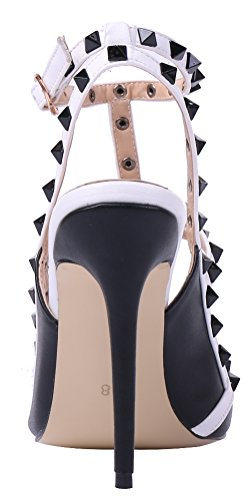MONICOCO oversize candy boucle t-spangen creux couleurs de chaussures en cuir verni escarpins avec rivets Schwarz-Weiß PU