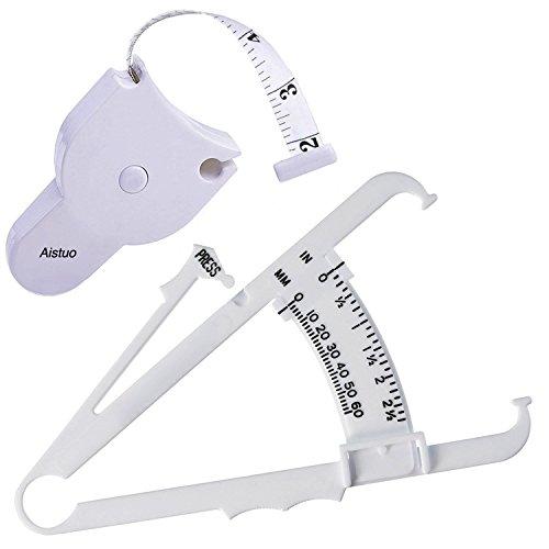 Aistuo Persönliche Körperfett-Tester Bremssättel Set mit Maßband und Fat Charts Fitness Measure Tool enthalten - Taille Arme und Thigs Fettmessung(weiß)