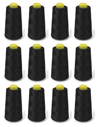 Stück Garn Garne A Konus aus Polyester für besonders Overlock oder mit Nähmaschine Farbe schwarz–2aintimo®