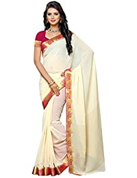 Mimosa Women's Chiffon Saree With Blouse Piece (2111-Hwt-Rni,Off White,Free Size)