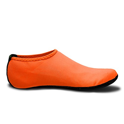 DADASIY 3rd Upgraded Version Durable Sole Barefoot Water Skin Shoes Aqua Socks For Beach Pool Sand Swim Surf Yoga Water Aerobics Orange