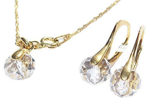 Ah. Joyas Cristales de Swarovski® Briolette 2pcs Graceful 8mm pendientes y colgante, collar Conjunto. 24K oro sobre plata de ley. 45cm cadena incluida. Sello 925.