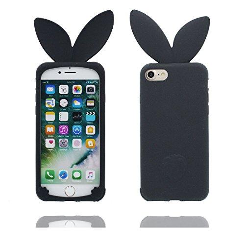 """Housse iPhone 6 Plus Coque, Case iPhone 6s Plus Étui 5.5"""", TPU Flexible Durable Shock Dust Resistant Shell Cartoon 3D lapin oreille, iPhone 6 Plus Cover 5.5"""" Noir"""
