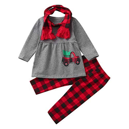 jerferr Mädchen Set Christmas Baby Kids Girl Printed Tops Dress+Plaid Pants+Scarves Outfits Clothes