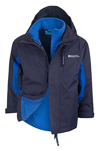Mountain Warehouse Cannonball 3In1 Kinder Wasserdichte Jacke Doppeljacke Abnehmbarer Kapuze Fleece Marineblau 104