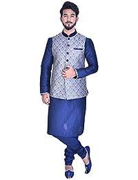 Manyavar Men's Blended Chudidar Kurta Pyjama with Waist Coat