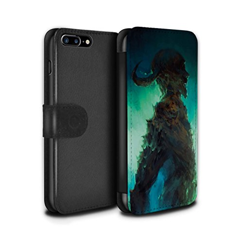 Offiziell Chris Cold PU-Leder Hülle/Case/Tasche/Cover für Apple iPhone 7 Plus / Dramargu/Vollmond Muster / Dämonisches Tier Kollektion Gehörnter Dämon