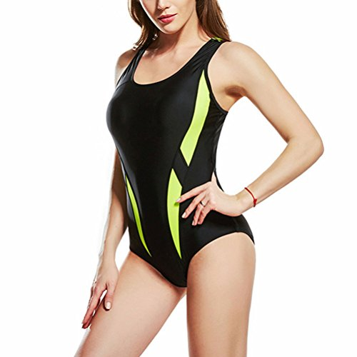 Zhhlaixing Donne Sport Racerback Costume da bagnos Swimwear Anti-UV Training Pro Athletic Bathing Suit Black&Yellow