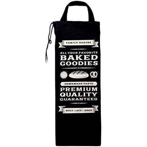 Promobo - Bolsa de pan, estilo retro, para cocina o panadería, diseño de los EE. UU., color negro