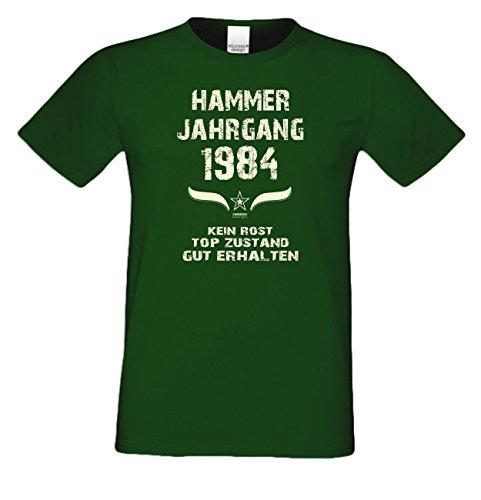 Geschenk zum 33. Geburtstag :-: Geschenkidee Herren Geburtstags-Sprüche-T-Shirt mit Jahreszahl :-: Hammer Jahrgang 1984 :-: Geburtstagsgeschenk Männer :-: Farbe: dunkelgrün Dunkelgrün