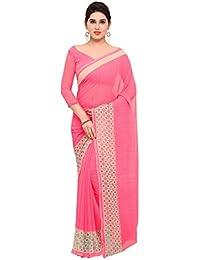 Triveni Mujer india Rosa Faux Georgette Impreso Saree, Sari
