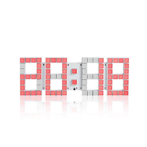 3D Stereo Digital Wall Clock, Multi-Functional Remote Control Große LED-Digitalwanduhr mit Countdown-Timer-Temperaturdatum für Airport Gymnasium Airport Airport,Red