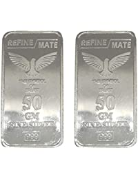 Silver Emporium Pure 999 Silver SEPL Bar 50 Gram *2 Silver Bar = 100 Gram. Combo of 2 Bar (50 Gram)