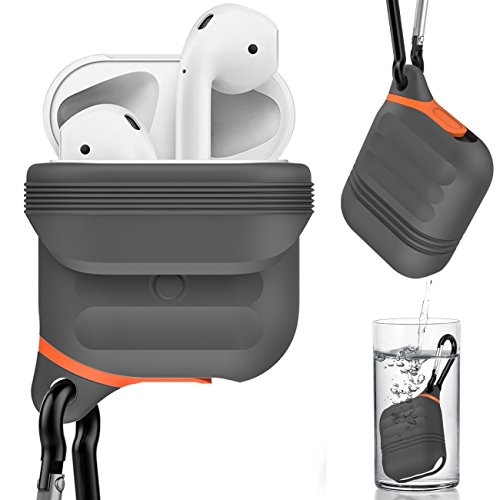 Greatfine Airpods Wasserdichte Hülle, Stoßfeste Silikon-Schutzhülle für Apple AirPods, stoßfest Silikon Schutzhülle für Apple Airpods Ladekabel Fall Zubehör (Grey Case) Exquisite Münze Leichter