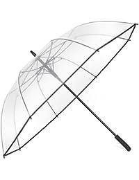 Minuma® Regenschirm XXL | durchsichtig, klar und extra groß: 128 x 98 cm | mit Praktischem Öffnungsmechanismus und ergonomischem Griff | Schirm auch für Paare geeignet