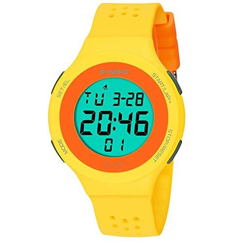 2019 Mode Unisex LED Digital Uhren Ultra Dünn Wasserdicht Multifunktion Uhr Doppelte Aktion Schwimmen Sport Watch Proumy (Yellow)