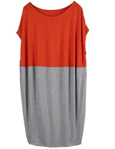 JOLLYCHIC Femme Robe-Tshirt Lâche Longueur Genoux Bicolore Manches Courtes Orange