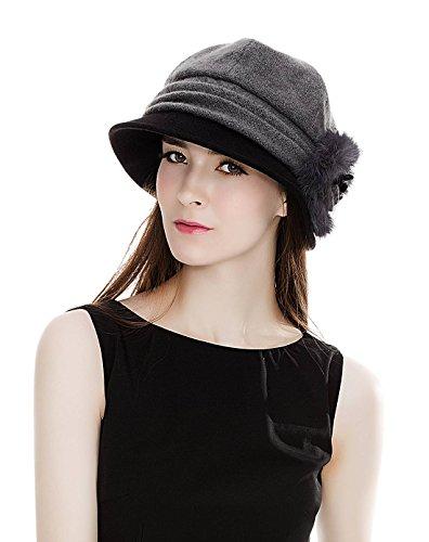 SIGGI grauer Wolle 1920s Glockehut Retro Fedorahüte für Damen Klassisch Fischerhüte Winter