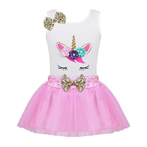 Tutu Tank (dPois Baby Mädchen Outfits Kleinkind Einhorn Bekleidungsset Tank Top + Spitze Tutu Rock Prinzessin Kleidung Kinderkleidung Partykleid Rosa 86-92/18-24 Monate)