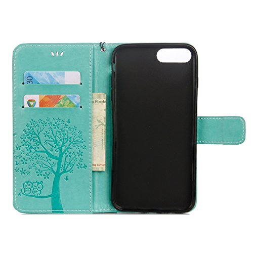 iPhone 7 Plus Coque Dragonne Portefeuille PU Cuir Etui,iPhone 7 Plus Coque Ultra Fine,iPhone 7 Plus Etui Cuir Folio Housse PU Leather Case Wallet Flip Protective Cover Etui [PU Cuir et TPU Silicone In Hibou - Vert
