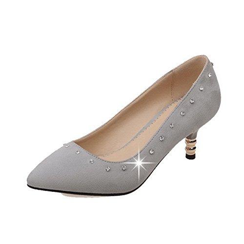 VogueZone009 Femme Tire Pointu à Talon Correct Suédé Couleur Unie Chaussures Légeres Gris
