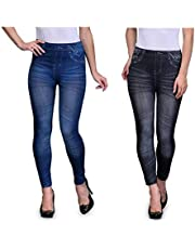 Fifty 55 Five Women's Poly Cotton Casual Denim Look Stretchable Jeggings (Free Size 28-34 Waist) - Set of 2