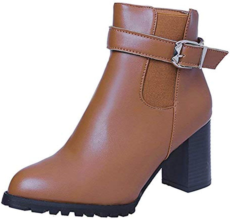 Bottes Chaussures pour pour femmes Bottes pour pour femmes Boucle Femme Décontracté Cuir PU Bottes Martin Bottes élégantes... 6a1ad4