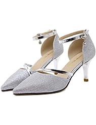 7.5cm Scarpin D'Orsay Dedo del pie puntiagudo Bomba Latino Zapatos Zapatos de boda Mujer Moda' Dulce Dedo del pie puntiagudo Correa de tobillo Tribunales Zapatos Zapatos De Vestir Zapatos de baile Tam , silver , 35